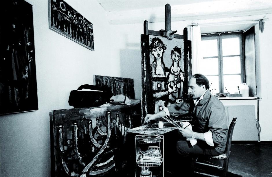 André Bucher dans son atelier Rue Calvin 1966